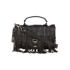 PROENZA SCHOULER PS1 Fringe Tiny Lux Leather Black (1 805 AUD) ❤ liked on Polyvore featuring bags, handbags, shoulder bags, black handbags, leather fringe purse, leather shoulder handbags, black shoulder bag and black leather shoulder bag