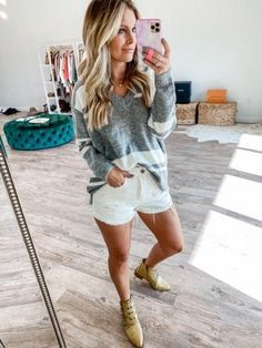 Love wearing booties and shorts! This sweater is so cozy too! Mom Outfits, Fall Outfits, Best Mom, Autumn Summer, Mom Style, Everyday Fashion, White Shorts, Style Inspiration, Stylish