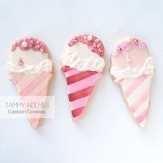 Pink Ice Cream Cones Cookies // Tammy Holmes