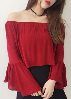 Wine Red Bell Sleeve Off The Shoulder Crop Top - Daily Fashion Outfits Red Fashion, Modest Fashion, Korean Fashion, Girl Fashion, Fashion Dresses, Fashion Trends, Trending Fashion, Stylish Dresses, Womens Fashion