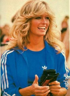 Vintage pic of Farrah rocking Adidas. I think my first track suit was circa 1979.