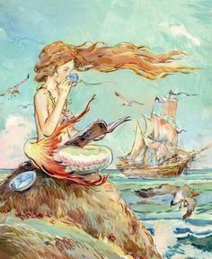 """""""Mermaids (also called sirens) were natural beings who, like fairies, had magical and prophetic powers. They loved music and often sang. Though very long-lived, they were mortal and had no souls. 🧜🏻♀️ 📷Art: Mermaid Drinking Tea by Claire Fletcher"""" Fantasy Creatures, Mythical Creatures, Sea Creatures, Fantasy Mermaids, Mermaids And Mermen, Mermaid Fairy, Mermaid Cup, Mermaid Lagoon, Mermaid Tattoos"""
