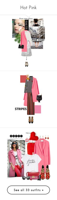 """Hot Pink"" by yelena-yeong ❤ liked on Polyvore featuring Ulyana Sergeenko, Harris Wharf London, Haider Ackermann, Gucci, Jimmy Choo, Balmain, Christopher Kane, Aquazzura, Chloé and stripes"