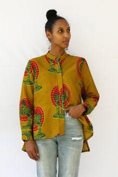 Zuri shirt in Fan Club washed cotton East African kitenge dress. Made in Kenya. African Tops, African Wear, Dress Shirts For Women, Clothes For Women, Modern Fashion, Fashion Design, Women's Fashion, Style Africain, Ankara Tops