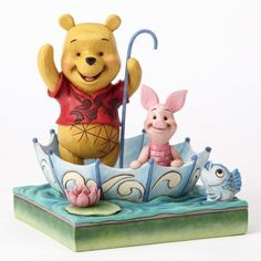 PRE-ORDER: '50 Years of Friendship' - Winnie the Pooh and Piglet in umbrella figurine (Jim Shore) from Fantasies Come True