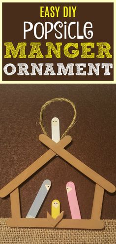 Have fun with this easy homemade Manger Popsicle Christmas Ornaments! Share in the classroom, at hom Homemade Ornaments, Diy Christmas Ornaments, Ornaments Ideas, Nativity Ornaments, Nativity Scenes, Christmas Decor, Christmas Cards, Christmas Party Games, Christmas Activities