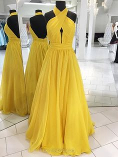 Chiffon Halter Princess Floor-length Sashes / Ribbons Prom Dresses #UKM020104877