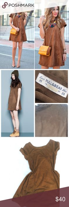 •HP•  Pull & Bear• faux suede shift dress •Host Pick 8/31/16•   -Statement Style Party-    •RePosh• Bought & never found the occasion to wear it. Super cute shift dress by Pull & Bear [a European brand similar to Zara]. Condition is 9/10 (small imperfection in suede-not noticeable when wearing) Very soft, beautiful faux suede. Gorgeous color; photos taken in natural lighting with no filters. Features a wide, almost off the shoulder neckline, pleating in the back, & two front pockets. Made of…
