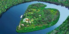 Richard Branson's private, heart-shaped Makepeace island, located on Australia's Sunshine Coast...