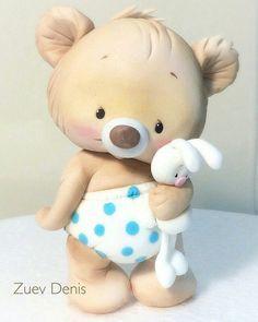 Baby animals cake teddy bears new ideas Polymer Clay Animals, Fimo Clay, Polymer Clay Crafts, Cake Topper Tutorial, Fondant Tutorial, Fondant Cake Toppers, Fondant Figures, Clay Bear, Teddy Bear Cakes