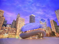 Evening Reflections on Cloud Gate, Chicago, Illinois