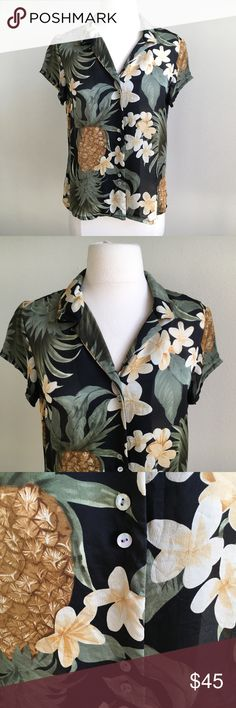 TOMMY BAHAMA 100% Silk Tropical Pineapple Shirt M Size Medium Tropical shirt featuring pineapples! Everyone's favorite! 100% silk with double shell buttons. Absolutely flawless condition. Tommy Bahama Tops Blouses