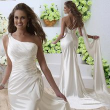 fashion romantic white long wedding dresses 2016 one shoulder slim satin bridal marry gown for party robe de soiree(China (Mainland))
