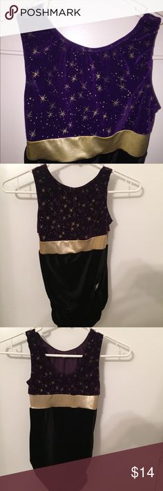 Girl's GK gymnastic's leotard size YM GK gymnastic's girl's leotard gold , purple and black . Used but food condition. Size Yourh medium . GK Other