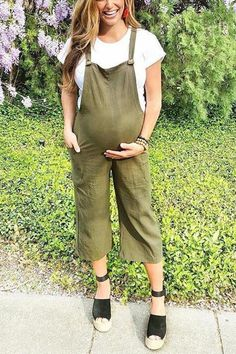 Maternity Green Wide Leg Jumpsuit – loveinbabe