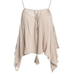 Sans Souci Cold shoulder trapeze top ($29) ❤ liked on Polyvore featuring tops, shirts, tank tops, tanks, blusas, taupe, taupe shirt, bell sleeve tops, bell sleeve shirt and rayon shirts