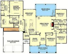 Plan 51756HZ: 4 Bed Craftsman with Tapered Columns