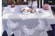 napperon poule au point de filet