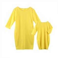 Mother Daughter Autumn Girl Dress 2017 New Yellow Mother Daughter Matching Long Sleeve Clothes Family Look Girl And Mom Clothing