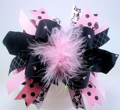 Pretty Princess Pink and Black Marabou Over the Top Hairbow with matching Headband