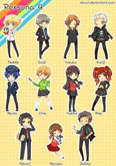 Chibi 53 Persona 4 Chibi Set by Siruvi On Deviantart Persona Q, Shin Megami Tensei Persona, Disney Cast, Love Live, Cute Chibi, Big Hero 6, Art Thou, Game Art, Nerdy