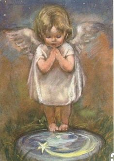 """""""According to the Talmud, every blade of grass has its own angel bending over it, whispering, 'Grow, grow. Italian painter and illustrator Baby Engel, Angel Guide, I Believe In Angels, Angel Pictures, Angels Among Us, Angel Cards, Guardian Angels, Religious Art, Christmas Angels"""