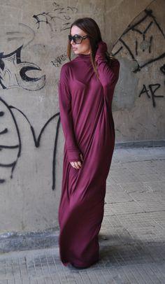 XXL,XXXL Maxi Dress / Extravagant Long Dress / Daywear DressOversize /Maxi Wine Red Dress Turtlenecks /Dark Red Long Loose Dress