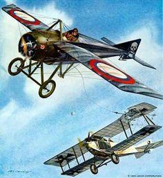 Russian Morane-Saulnier Type N, using a grappling hook vs a German plane!