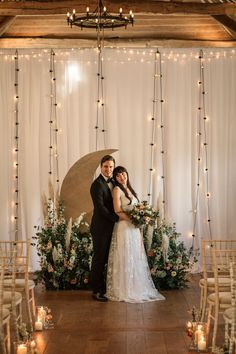 Celestial Wedding Inspiration Becky Harley Photography Moon Backdrop Crescent Fairy Lights Meadow Flowers #OpulentWedding #MagicalWedding #CelestialWedding #Wedding #WeddingInspiration #Moon #WeddingBackdrop #CrescentMoon #FairyLights #MeadowFlowers
