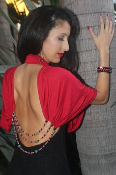 House of Shakti Heart Healer Scarf Necklace worn on a backless Free People dress