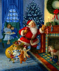 """""""The Night Before Christmas"""" illustration by Ruth Sanderson American) Christmas Scenes, Christmas Past, Christmas Pictures, Winter Christmas, Father Christmas, Christmas Mantles, Christmas Glitter, Xmas Holidays, Christmas Presents"""