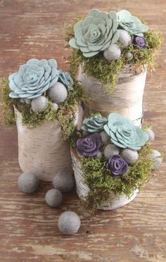DIY Felt Succulent Flower Centerpiece. lick to get this great tutorial!