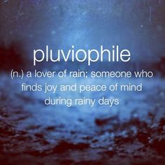 Pluviophile... (n.) a lover of rain; someone who finds joy and peace of mind on rainy days