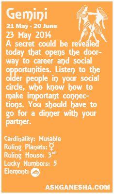 Gemini Daily horoscope for 23rd May 2014.