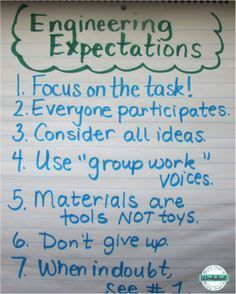 Use this anchor chart to establish expectations for STEM engineering projects. Simple STEM idea with free printables included, too! From More Than a Worksheet