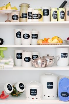 Using chalkboard contact paper to make labels.  Place on canisters and spice jars for a perfectly organized (and pretty) pantry!