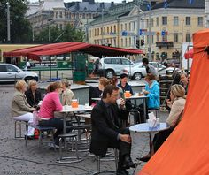 Early morning coffee at the market square in Helsinki.