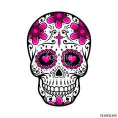 Vector: Day Of The Dead Skull. sugar flower tattoo. Vector illustration