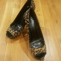 Aldo Leopard peep toe pumps Wore once to a wedding as you can see by the wear on the bottom ALDO Shoes Heels