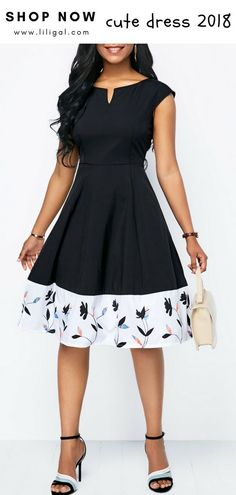 Bedruckte Cap Sleeve Split Neck A Linie Kleid - Kleider Modelle Elegant Dresses, Sexy Dresses, Cute Dresses, Beautiful Dresses, Casual Dresses, A Line Dresses, African Fashion Dresses, African Dress, Modest Fashion