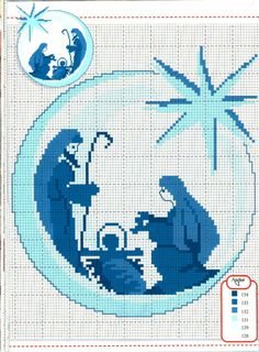 Nativity Scene in Cross Stitch Mehr Xmas Cross Stitch, Cross Stitch Charts, Cross Stitch Designs, Cross Stitching, Cross Stitch Embroidery, Embroidery Patterns, Cross Stitch Patterns, Religious Cross, Theme Noel