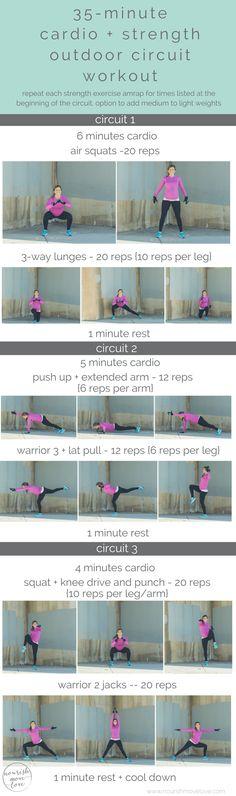 outdoor 35-minute cardio and strength circuit workout | nourishmovelove.com