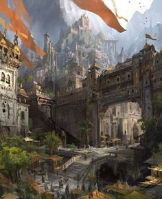 victorious city - high walled fortress in the mountains with banners RPG fantasy setting inspiration