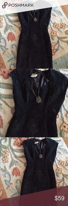Vintage suede Morgan Taylor dress Vintage petite Morgan Taylor suede black dress( slit back ) Morgan taylor vintage Dresses Midi
