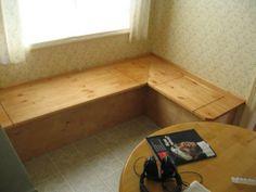 breakfast nook bench diy | Traditional breakfast nook LIFT-TOP storage benches.