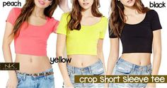 M-Crop Short Sleeve Tee Peach, Yellow, Black