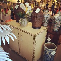"""""""New @ 22: a two-door #raffia covered #cabinet with antique brass nail heads. Perfect for #Newport in the #summer or any time of year. Visit us on Franklin Street to see this #new item and more! #interiordesign #decoration #furniture #Newport #NewportRI #rhodeisland"""" Photo taken by @newportlampandshadecompany on Instagram, pinned via the InstaPin iOS App! http://www.instapinapp.com (05/07/2015)"""