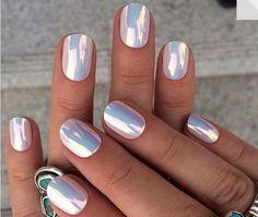holographic nails nail stickers nail accessories nail polish hippie rad metallic… – My CMS Mirror Effect Nail Polish, Mirror Nails, Chrome Nails Designs, Nail Art Designs, Hair And Nails, My Nails, Crome Nails, Opal Nails, Nail Photos