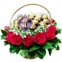 Basket of Chocolates and Roses
