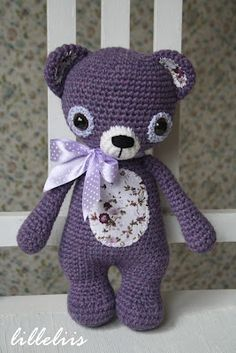 Lavender Teddy bear - amigurumi.  Couldn't find this pattern...but, other cute patterns are on her new site.  Click through to new site. (V)